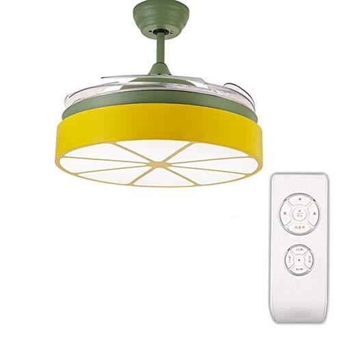 YZPFSD 42 Zoll orange kreative Stealth deckenventilator Lichter mit 4 transparent Kinder Schlafzimmer Moderne einfache Wohnzimmer esszimmer Hause Fernbedienung grün Fan (Size : 42inch)
