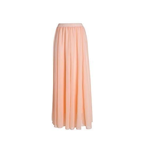 SUNNOW Korean Women Chiffon Boho Plissee Retro Maxi langer Rock-elastischen Bund Tanz-Kleid (34-42, Pink 1)