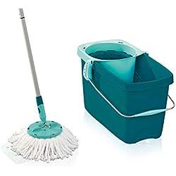 Leifheit Clean Twist - Mop Plastique Bleu Turquoise - Balai à Franges + Seau Essorage Rotatif