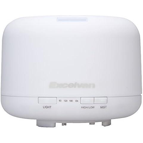 Excelvan LM-168 - Humidificador ultrasónico, difusor de aroma, 500 ml, purificador, 4 ajuste temporizador, 7 colores de luz, ionizador, color blanco