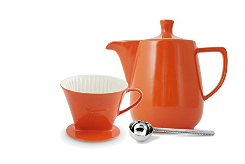 Friesland Melitta Kaffeefilter 102 1 Loch Porzellan orange + Kaffeekanne 0,6L + Kaffeemaßlöffel