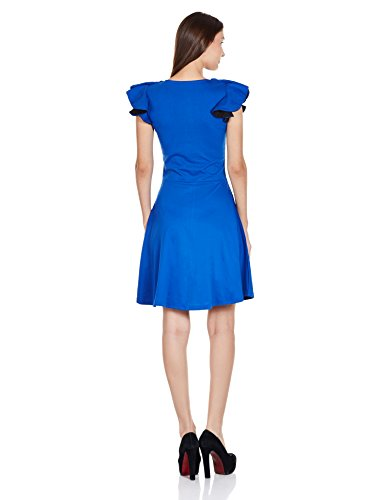 Miss Chase Women's Solid Ruffles Skater Dress (MCAW14D02-69-31_Cobalt Blue_X-Large)