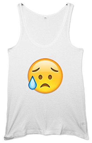 Eyebrow Sweat Face Emoji Women's Tunic Weste Weiß