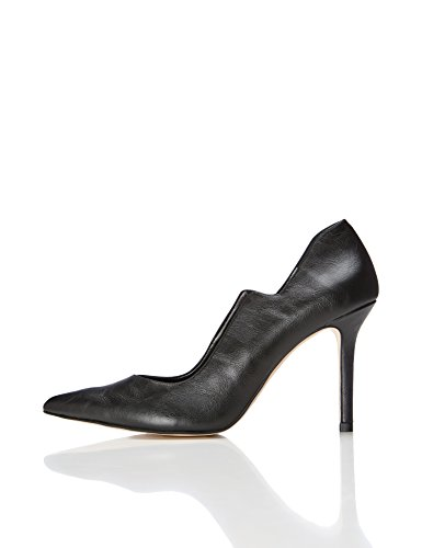 FIND Damen Pumps, Schwarz (Black), 39 EU (Leder Pumps Heel)