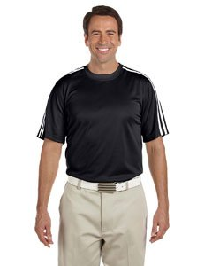 Adidas climalite 3-stripes golf tee (black/white/white) (large)