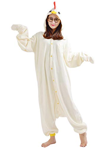 Kigurumi Pigiama Animali Adulto Unisex Pigiama Party Halloween Sleepwear Cosplay Costume Onesie, Pollo