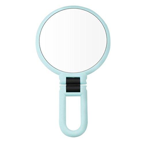 Bestomz specchio ingranditore 10 x da tavolo rotondo pieghevole per trucco in azzurro per regalo della festa di san valentino