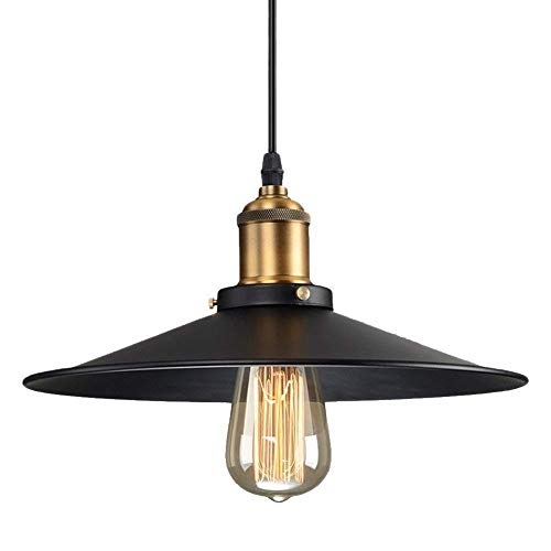 Vintage Retro Edison Loft Pendelleuchte, Retro Industrielle Deckenleuchte Lackiertem Eisen Regenschirm Lampenschirm 1X E27 Fassung (26CM)