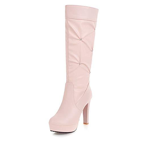 HOESCZS 2018 große Größe 34-43 Plattform Slip on Schuhe Frau Stiefel High Heels Elegante Großhandel mittlere Wade Stiefel Frau Schuhe,Rosa,43