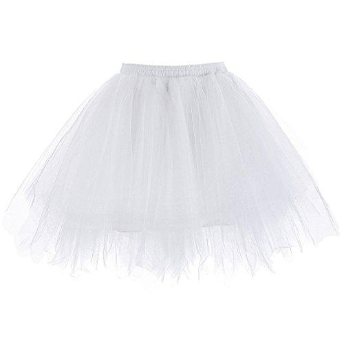 sumuya Retro Petticoat Tutu Damenrock Tüllrock 50er Kurz Ballet Tanzkleid Unterkleid Cosplay Crinoline Petticoat für Rockabilly Kleid White