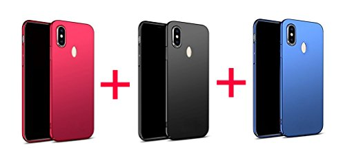 ORC Rubberised Matte Hard Case Back Cover For Xiaomi Mi Redmi Note 5 Pro Combo Offers (Red+Black+Blue)