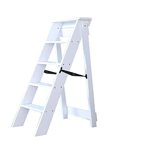 Oudan Leiter Massivholz 5 Stufen Leiter Faltbare Home Interior Loft Dekoration Leiter Rahmen Größe 60X34X88Cm (Farbe: Schwarz) (Farbe : Weiß, Größe : EINHEITSGRÖSSE) (Home Interior Rahmen, Dekorationen)