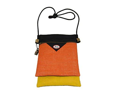 Plan B Damen Arto Umhängetasche Mod. MEDITERRANEO, 20x28x2 cm mit zwei taschen orange gelb