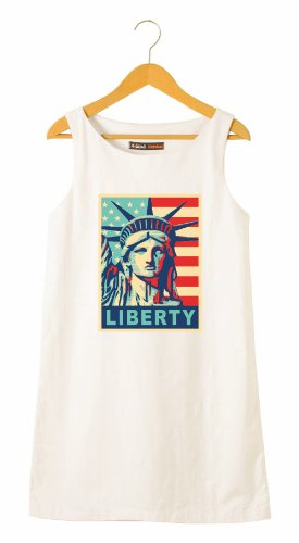 Statue Of Liberty On Usa Flag Printed Linen Mini Shift Dress WDS_01 (Kleid Liberty Statue Of)