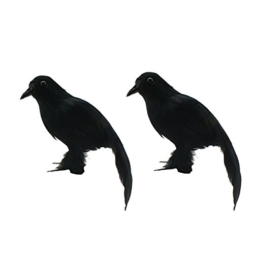 Halloween realistisch Birds schwarz gefiederten Crows Halloween Prop Décor, Secretary Dekoration (2Stück)