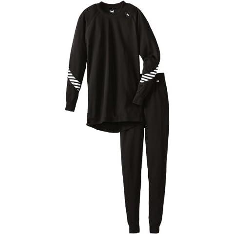 Helly Hansen Jr Hh Dry Set - Set prendas interiores con camiseta y mallas para niños, color negro, talla 176/16
