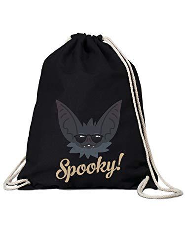 clothinx Turnbeutel Halloween Grusel Fledermaus Spooky Schwarz