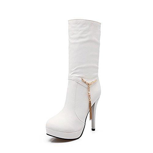 AgooLar Damen Hoher Absatz Rein Rund Zehe Blend-Materialien Ziehen auf Stiefel, Weiß, 43