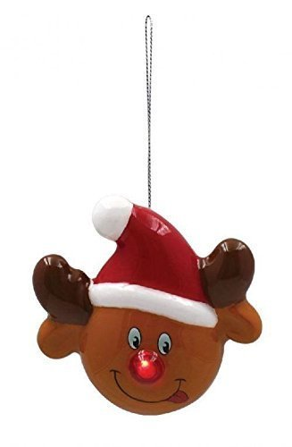 2 x Mignon RUDOLPHE LED ROUGE Nez Brun Orangé Décoration de boule de Noël 10x11x9cm