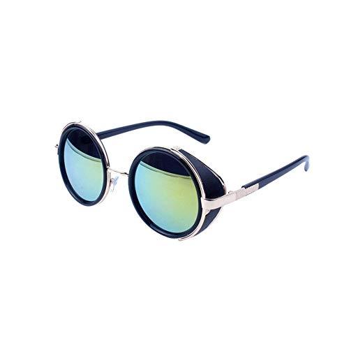 Ogquaton Retro Steampunk Style Sonnenbrille Round Metal Circle Polarisierte Sonnenbrille Vintage Small Mirror Glasses UV-Schutzbrille für Frauen Light Golden Frame Shiny Golden Lens Langlebig und pr