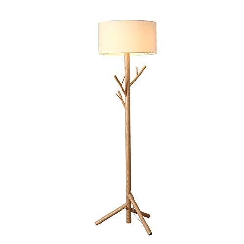 BAIYI Massivholz Baum Kleiderbügel Stehlampe Schlafzimmer Studie Wohnzimmer Stoff Holz Stehlampe -