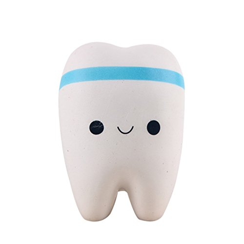 ESHOO Lustige Zahnform Dekompression Spielzeug PU Anhänger Spielzeug (1 Stück zufällige Farbe)