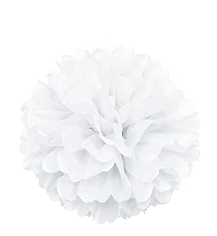 Unique Party - 64277 - Pompon de Décoration en Papier de Soie - 40 cm - Blanc