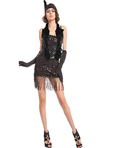 Kostüm 20er Flapper Schwarze Jahre Sexy - Yummy Bee - Flapper 20er Jahre Charleston Gatsby Kostüm + Feder Boa Karneval Fasching Kostüm Damen Größe 34 - 46 (40)