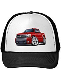funny-chevy-silverado-red-extended-cab-trucker-hat