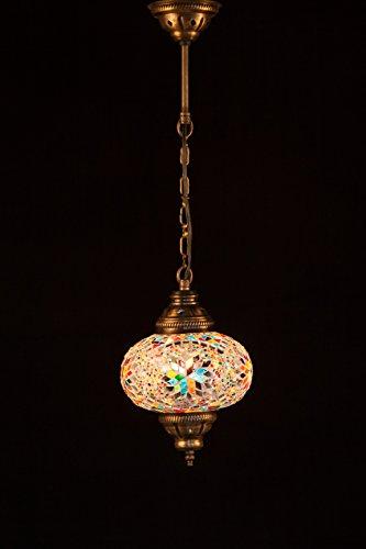 Handmade Turkish Lamp Moroccan Ottoman Style Mosaic Oval Mosaic Hanging Lamp Single Chain Lights Home Bedroom Restaurant Cafe Decoration Light Size 3 Multi Line