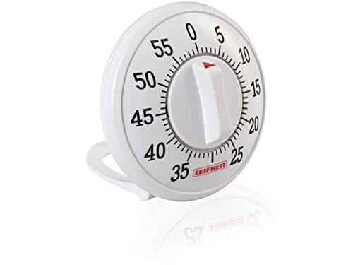 Leifheit Kurzzeitmesser ComfortLine-Serie, praktischer Küchentimer bis 60 Minuten, Eieruhr mit gut lesbarer Minutenskala, Kitchen timer benötigt keine Batterien, Küchenuhr, weiß (Ein Serie Signatur Jahr)