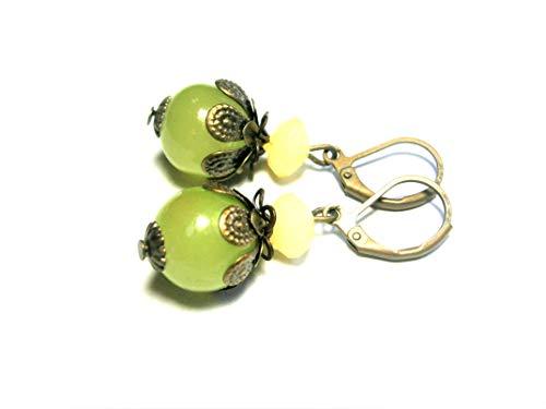 Grüne Ohrringe Ohrhänger Glas Perlen Schmuck