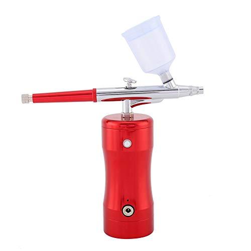 Duokon Mini 20CC Farbe Cup Airbrush Kit G12 Pumpe + 0,3mm Nadeldüse Spray Airbrush Set Färbung Malerei Kunst Lackierpistolen(Rot) -