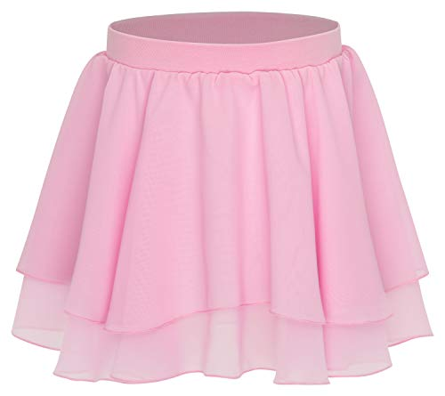 (tanzmuster Kinder Ballettrock Elli mit elastischem Bund aus Baumwolle. Luftiges Ballettröckchen aus Chiffon in rosa, Größe:116/122)