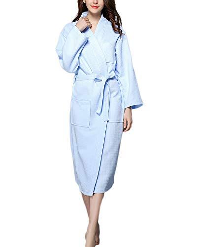 Hombre Unisex Mujer Bathrobes Nightgown,Pijama Sleepwear Talla Grande Bata De Baño con Cuello En V Azul Cielo L