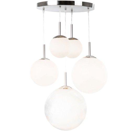 Glas Kugel Leuchte (LED Hängeleuchte 30 Watt Hängelampe Pendelleuchte Pendellampe 5 Opal Glas Kugeln Leuchte)