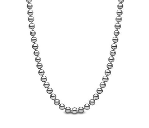 Kimura Pearls Silver 5.5 mm Grey Semi Round Cultured Freshwater
