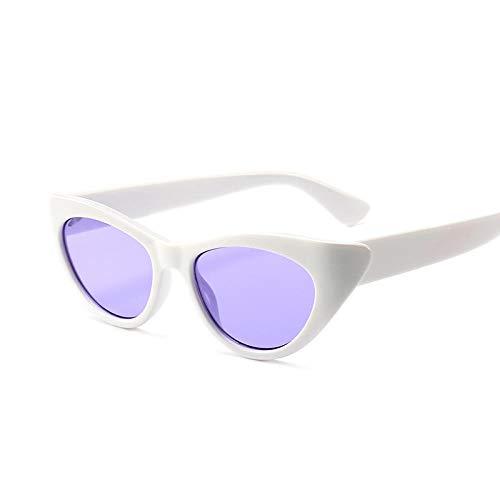 Lila Rot Kleine Cat Eye Sonnenbrille Damen Vintage Schwarze Sonnenbrille Weibliche Damen Cat Eyes Sonnenbrille Retro Glas-Weiß
