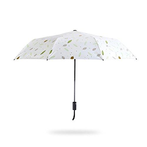 Umbrella Trois parapluies pliants, Petit Parasol en Plastique Noir Portable, matériau en Fibre de Verre, Motif de Feuille, Parapluie 100 cm, Parapluie UV
