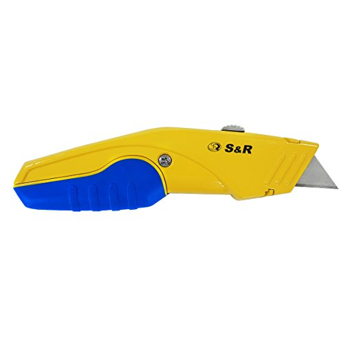 S&R Schnellwechssel Profi Teppichmesser/Cuttermesser 168mm, SK5 Klinge 3-stufig, Wechsel per Knopfdruck, 5 Klingen