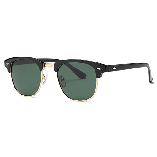 kimorn Polarisierte Sonnenbrille Unisex Retro Halb-Randlos Rahmen Klassisch Eyewear AE0550 (Schwarz&G15, 52)