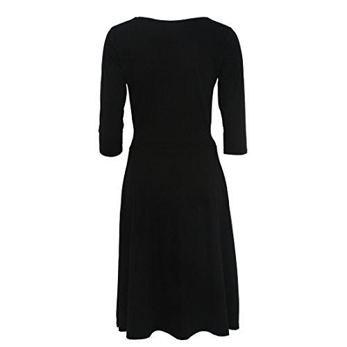Bafei - Robe - Trapèze - Manches 3/4 - Femme Noir