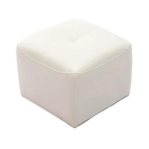 JHUEN Fußhocker Einfache Kreative Platz Leder Hocker Osman Fußhocker Wohnzimmer Lounge Stuhl Couchtisch Bank Weiß (42 cm × 42 cm × 34 cm) -