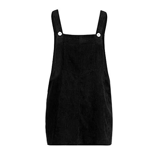 Kanpola Kleider Damen Herbst Cord Straps Kurze Tasche gerade Weste Rock Kleid (M/Gr 38, Z-Schwarz) -