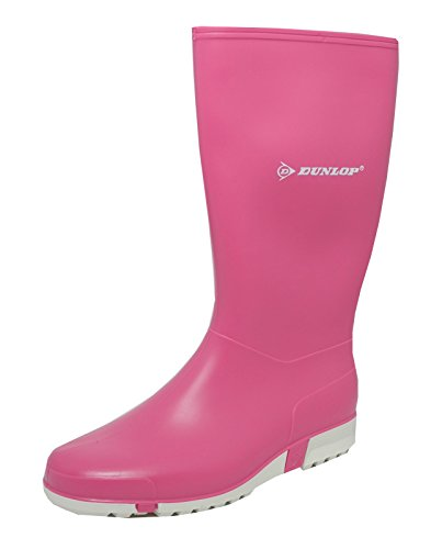 Ladies Womens Pink Wellies Dunlop Sport Rubber Wellington Calf Boots Size 4