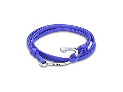 Sunnyshinee Vintage Cowhide Leather Braided Woven Fishing Hook Bracelet(Blue) by Sunnyshinee