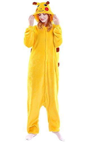 Dolamen Erwachsene Unisex Jumpsuits, Kostüm Tier Onesie Nachthemd Schlafanzug Kapuzenpullover Nachtwäsche Cosplay Kigurum Fastnachtskostuem Xmas Halloween (Medium (61