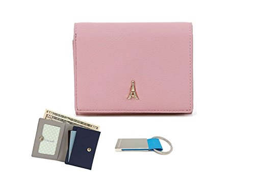 womens-compact-small-wallet-with-zip-coin-pocket-purse-keychain-indi-pink