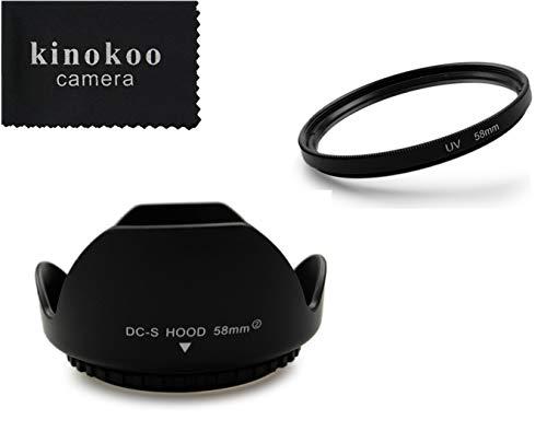 kinokoo 58mm UV-Filter Kamera Objektiv Zubehör-Kit für Fuji X-T30 X-T20 X-T10 X-T3 X-E3 X-T2 X-E2 X-E1, UV-Schutzfilter + Fuji XF 18-55 mm 1: 2,8-4 R LM OIS-Kit für umschaltbare Gegenlichtblende(B)