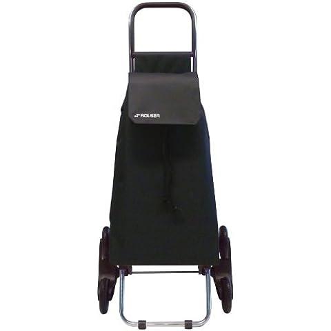 Rolser SAQ006 - Carro de compra (nylon, plegable, 47.5 x 40 x 107 cm, 43 L, 6 ruedas), color negro